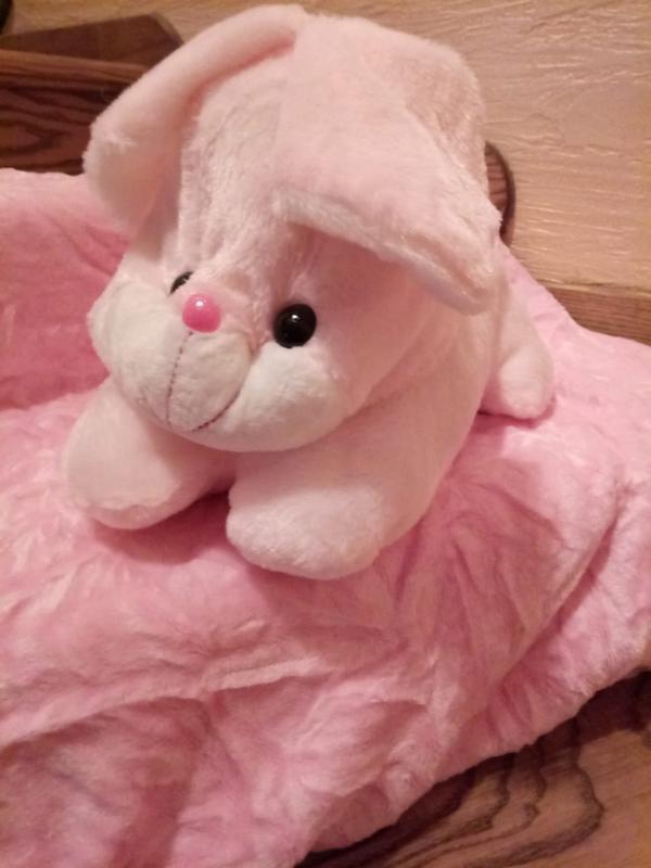 Детский комплект подушка и плед.игрушка-подушка зайка