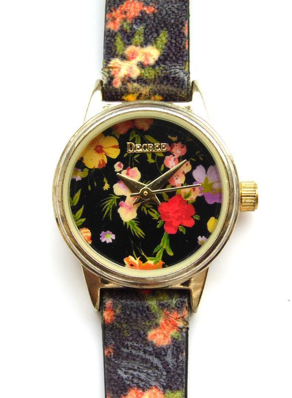 Decree часы из сша с красивыми цветочками механизм japan