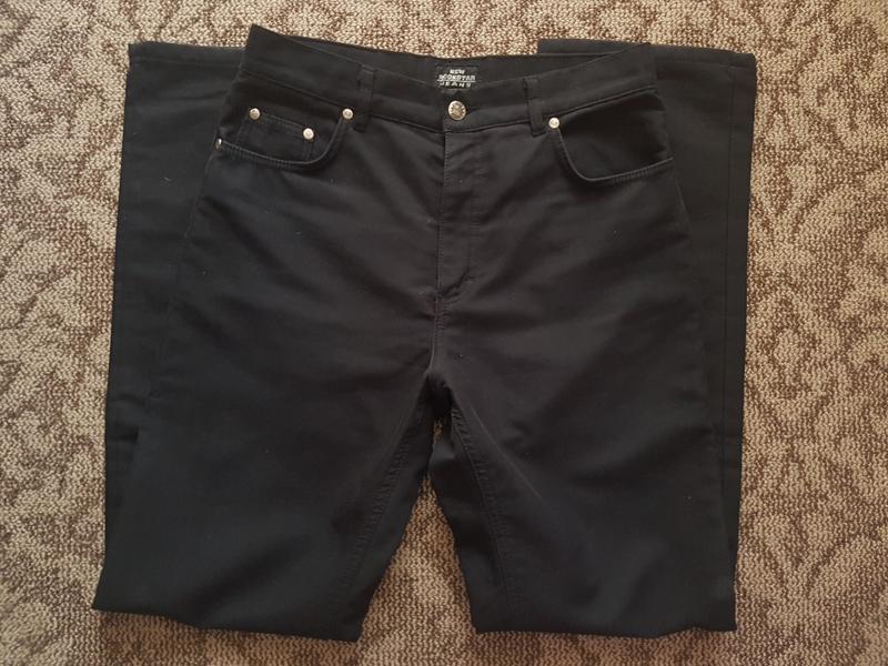 Мужские брюки джинсы с начесом черные на флисе