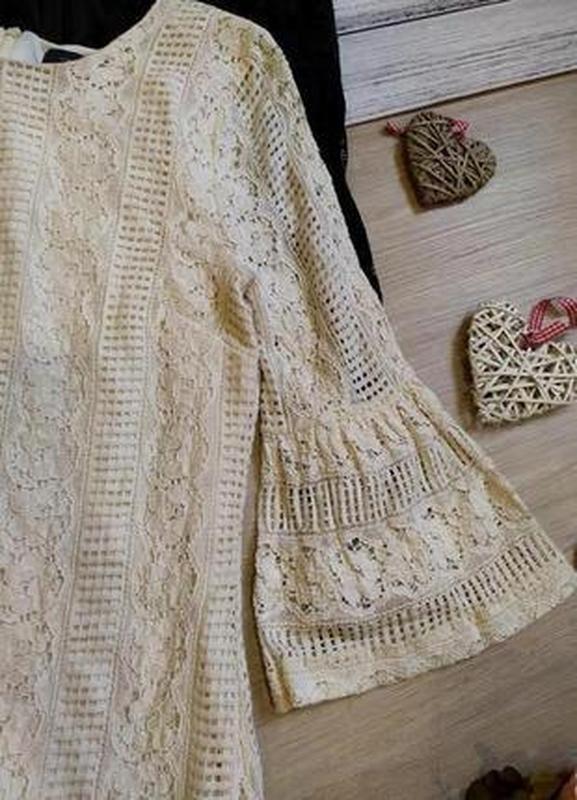 Красивое кружевное платье -рукава воланы размер 12-14(42-44) - Фото 4