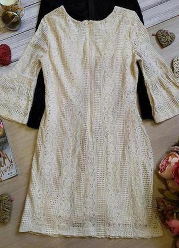 Красивое кружевное платье -рукава воланы размер 12-14(42-44) - Фото 5