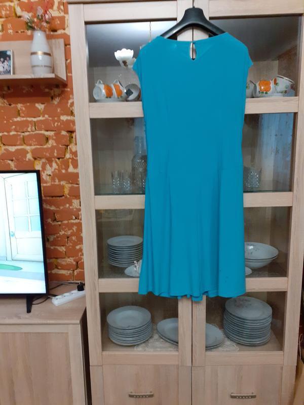Безумно красивое платье небесного цвета большого размера - Фото 2