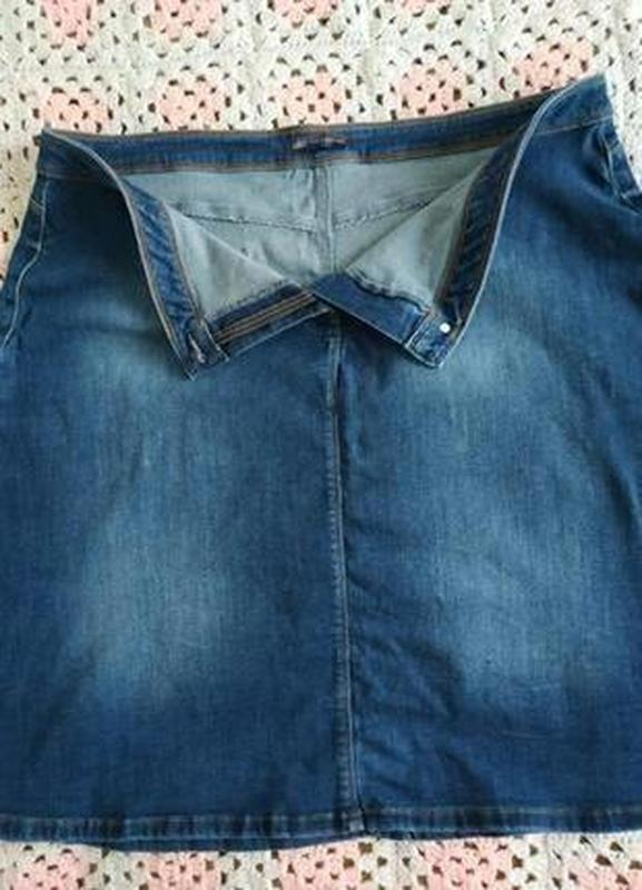 Джинсовая юбка миди трапеция m&s - Фото 3