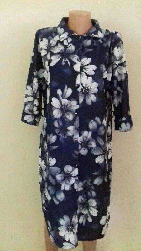 Платье-рубашка с принтом большого размера
