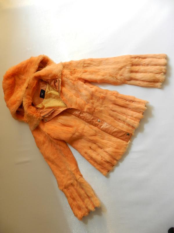 Куртка мех кролик кожа - Фото 4