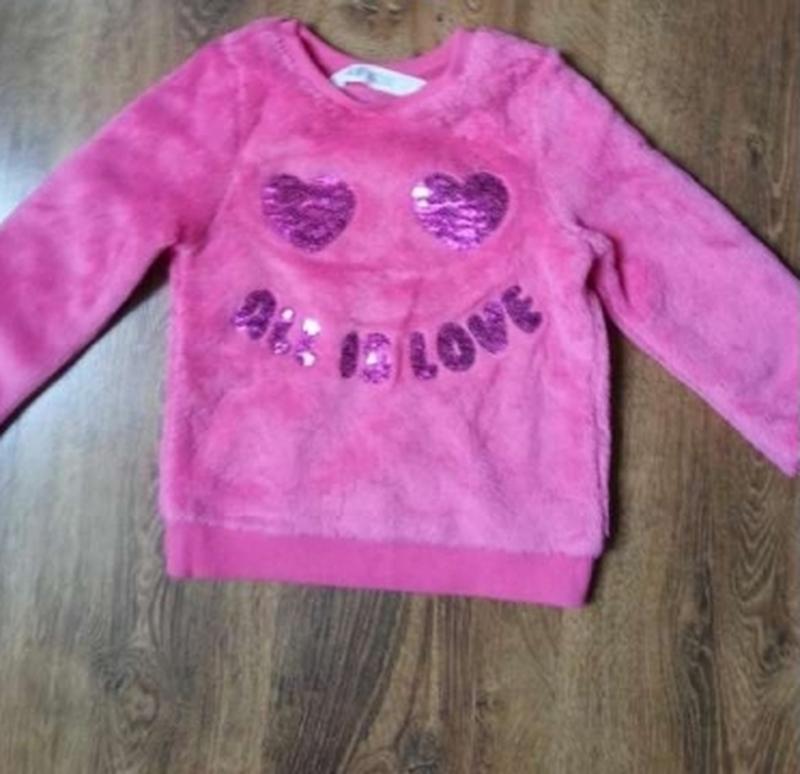 Пушистая кофта свитшот для девочки h&m 2-6лет - Фото 2