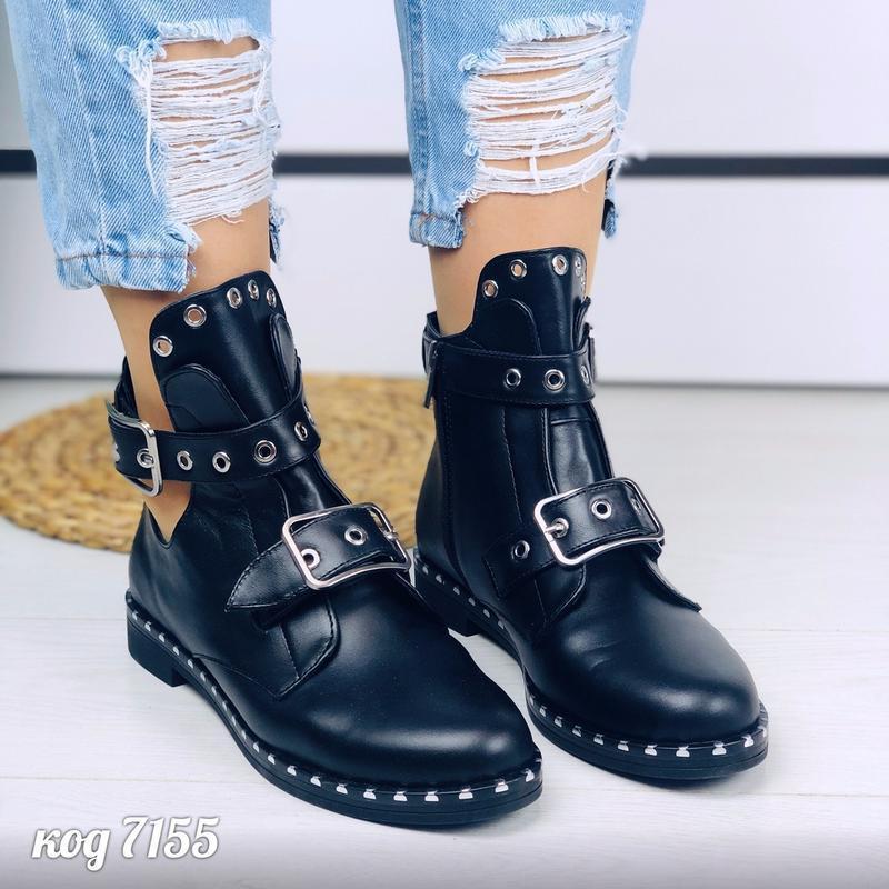 Кожаные ботинки натуральная кожа черевки ботики полусапоги пол...