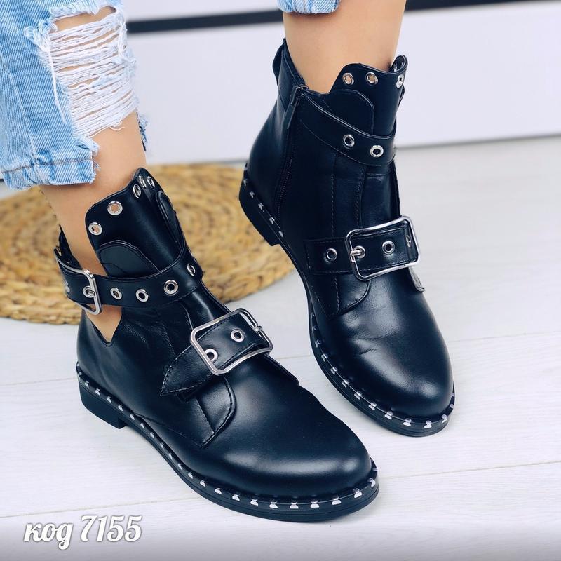 Кожаные ботинки натуральная кожа черевки ботики полусапоги пол... - Фото 3