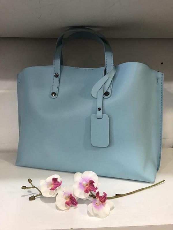 Сумка в сумке кожа италия бирюзовый голубой