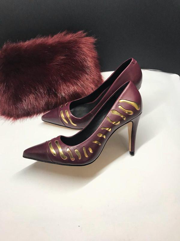 Туфли лодочки марсала с золотом cosmoparis 37 р кожа