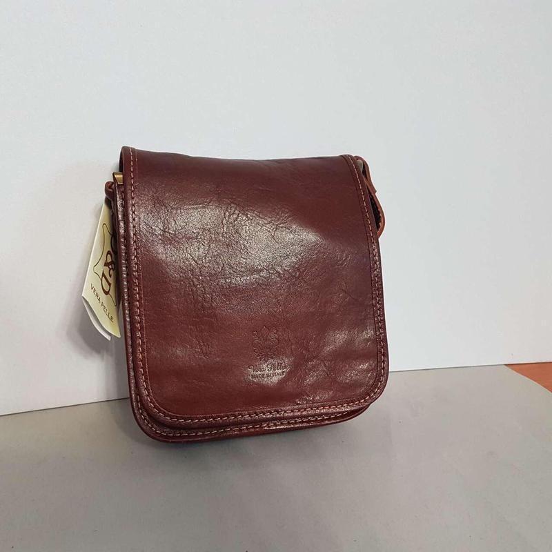 Мужчкая рыжая сумка кожа италия через плечо