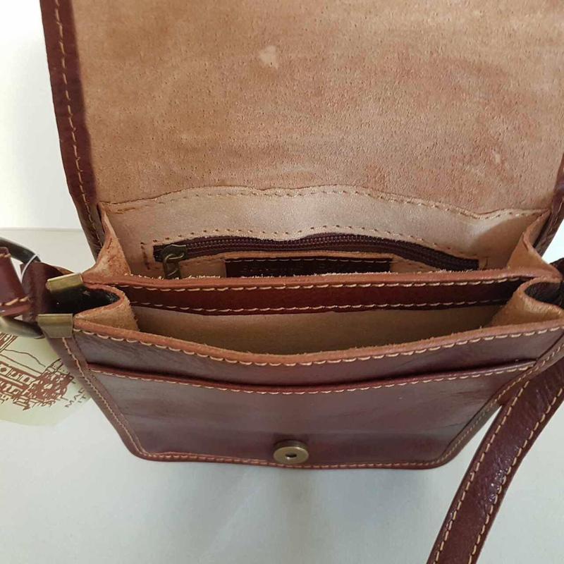 Мужчкая рыжая сумка кожа италия через плечо - Фото 2