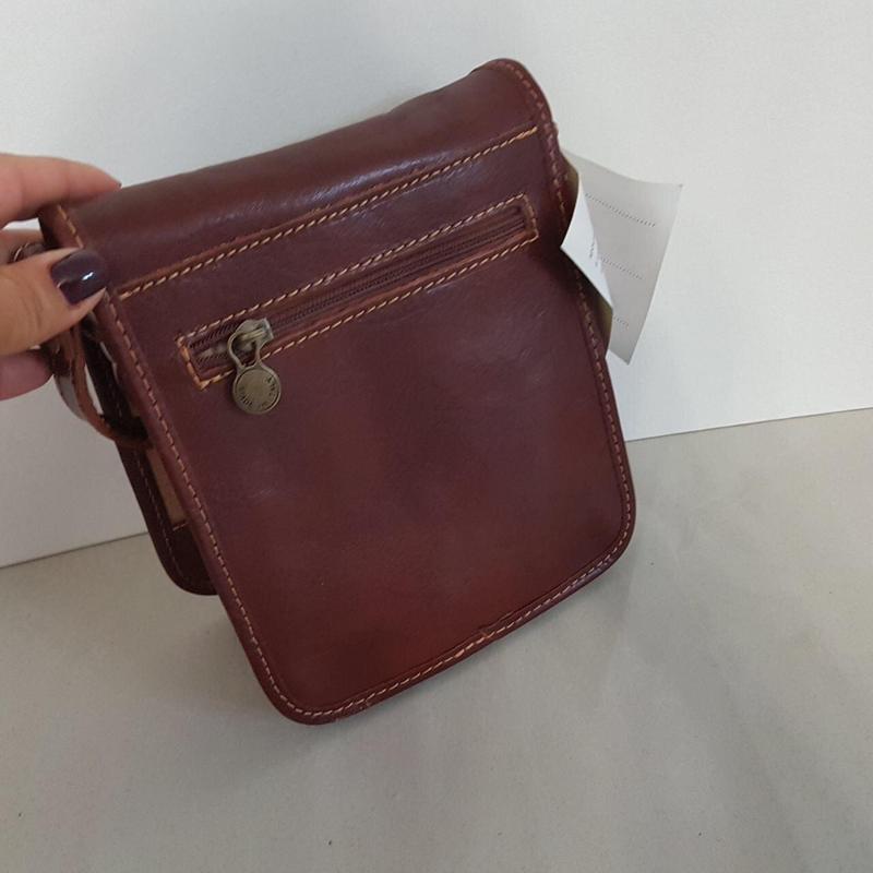Мужчкая рыжая сумка кожа италия через плечо - Фото 3