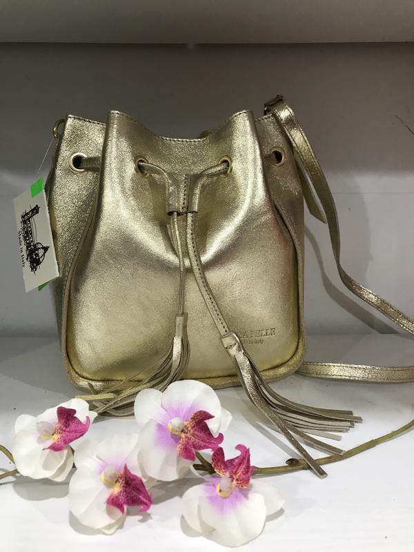Сумка мешок через плечо золото кожа италия vera pelle