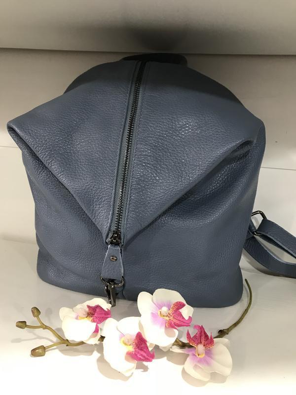 Голубой кожаный рюкзак италия мягкий и большой - Фото 2