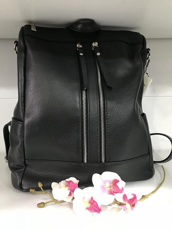 Большой черный рюкзак кожа италия мягкий и вместительный