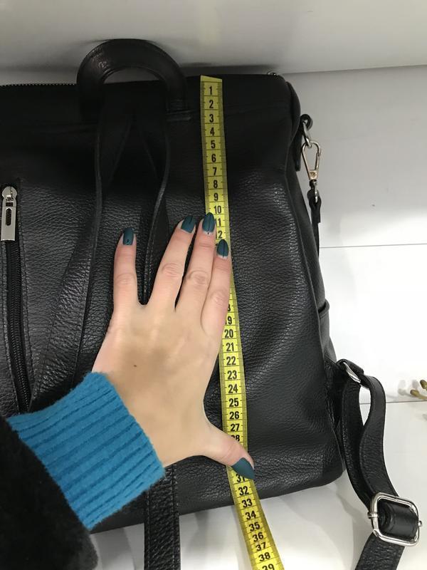 Большой черный рюкзак кожа италия мягкий и вместительный - Фото 4