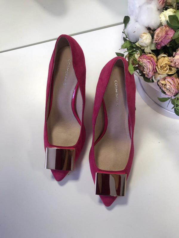 39 р малиновые туфли cosmoparis лодочки замша - Фото 2