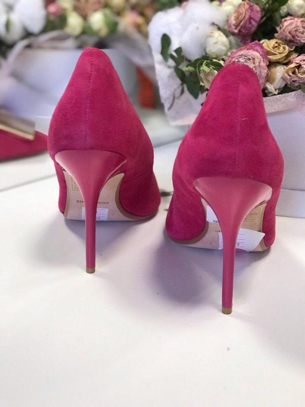 39 р малиновые туфли cosmoparis лодочки замша - Фото 3