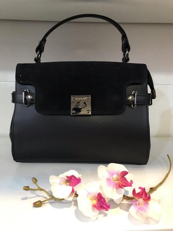 Элегантная классическая черная сумка кожа и замша италия