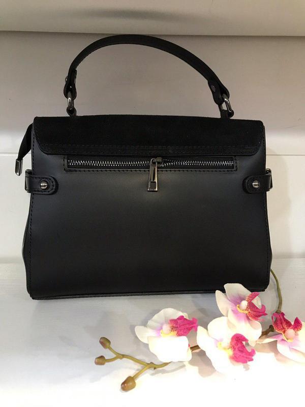 Элегантная классическая черная сумка кожа и замша италия - Фото 3