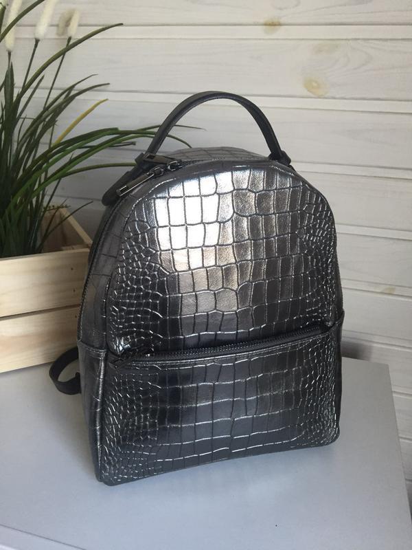 Рюкзак кожа италия оригинал металлик серебро