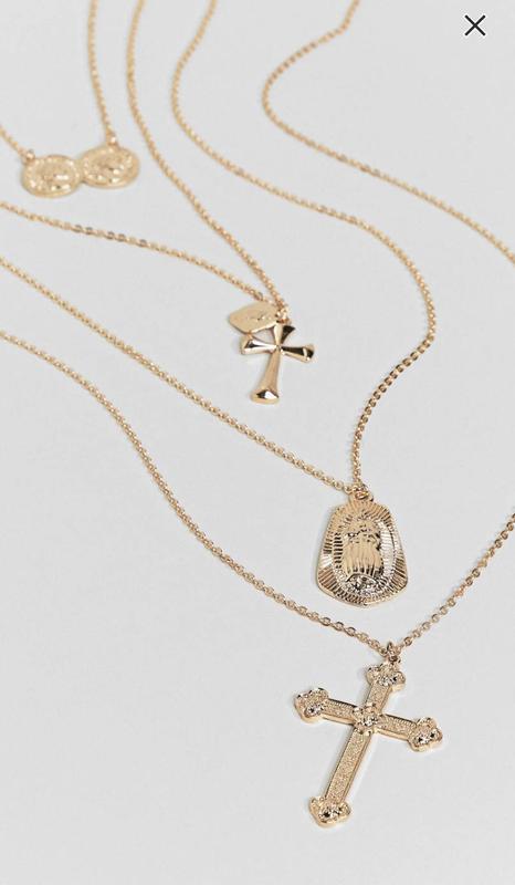 Многослойное ожерелье с подвесками из монет и крестом new look... - Фото 4