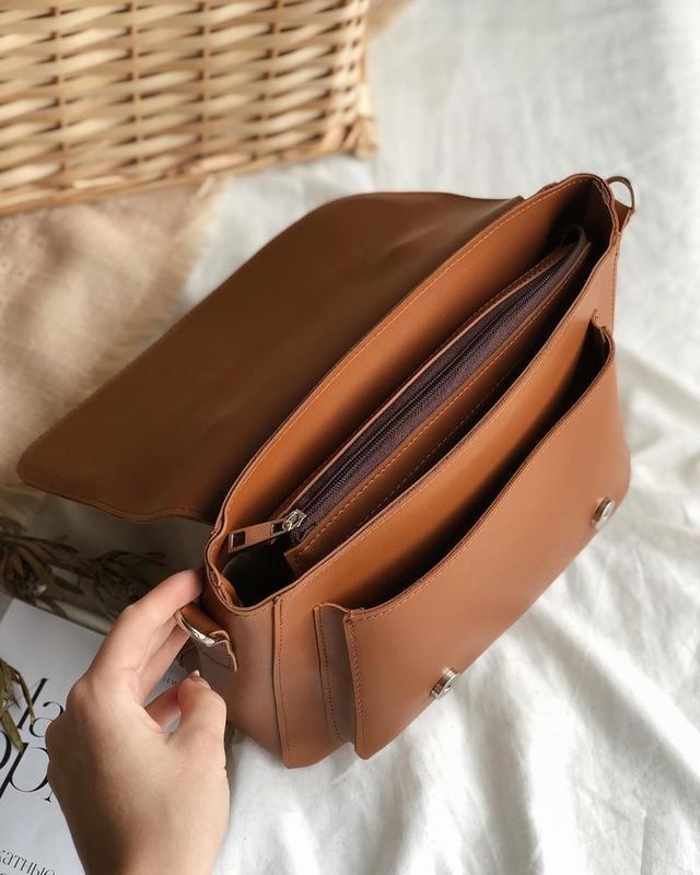 Сумка рыжая в форме классического портфеля (есть цвета) - Фото 5