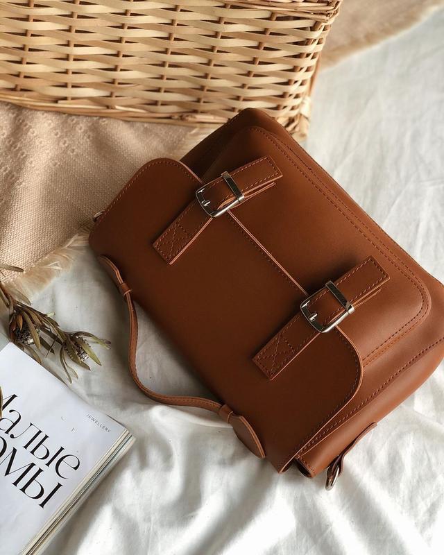 Сумка рыжая в форме классического портфеля (есть цвета) - Фото 7