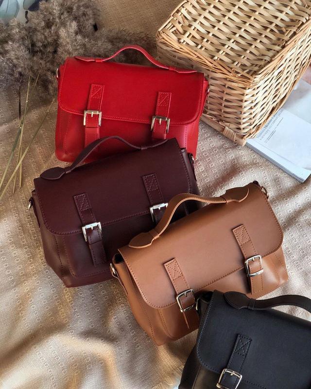 Сумка рыжая в форме классического портфеля (есть цвета) - Фото 10