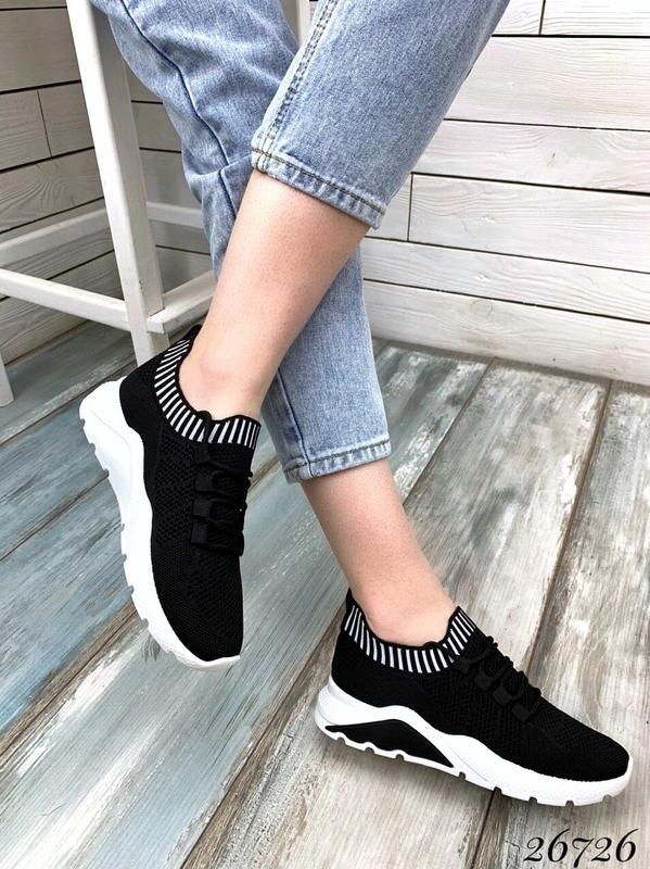 Чёрные текстильные кроссовки на шнуровке,женские чёрные кроссо... - Фото 2