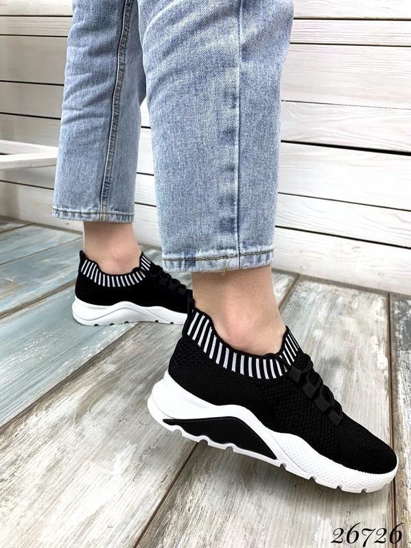 Чёрные текстильные кроссовки на шнуровке,женские чёрные кроссо... - Фото 3