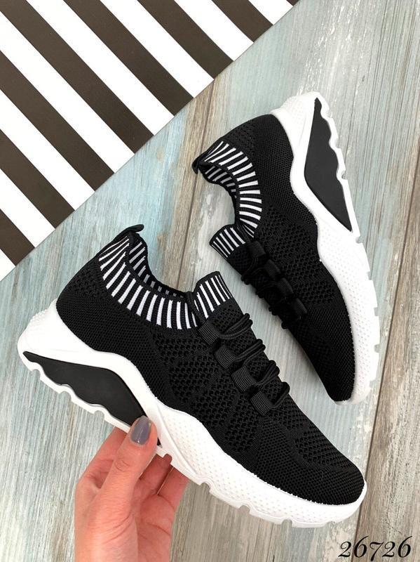 Чёрные текстильные кроссовки на шнуровке,женские чёрные кроссо... - Фото 4