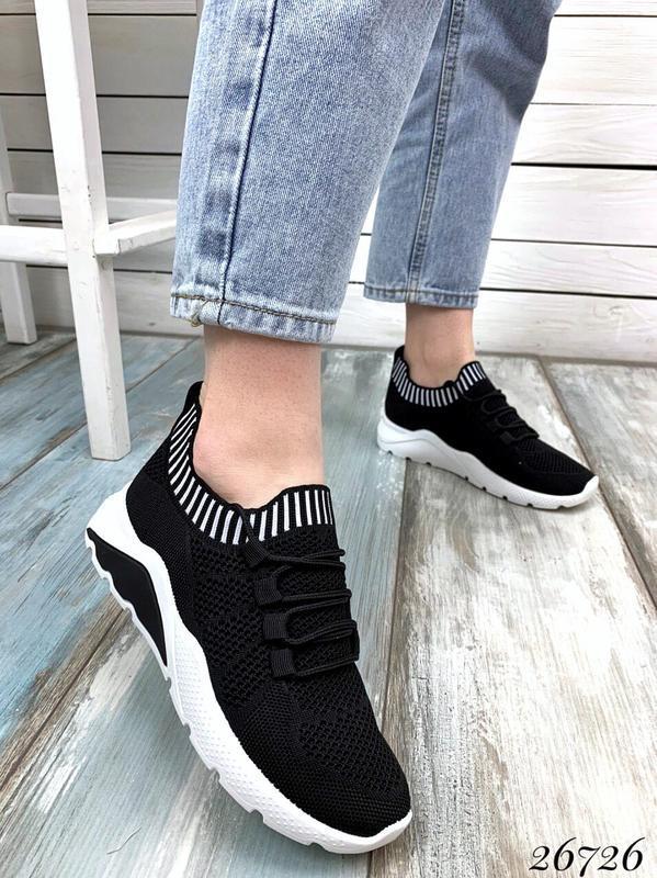 Чёрные текстильные кроссовки на шнуровке,женские чёрные кроссо... - Фото 5