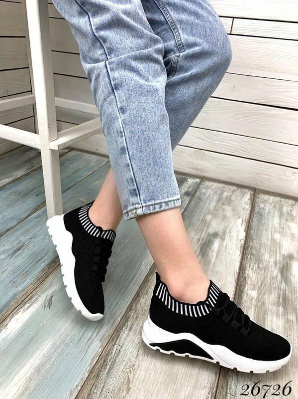 Чёрные текстильные кроссовки на шнуровке,женские чёрные кроссо... - Фото 6