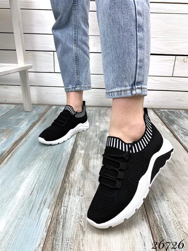 Чёрные текстильные кроссовки на шнуровке,женские чёрные кроссо... - Фото 7