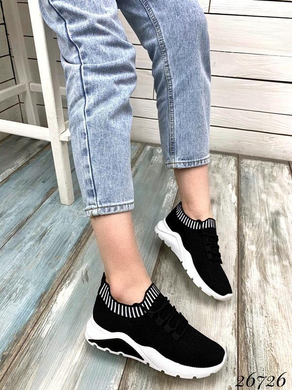 Чёрные текстильные кроссовки на шнуровке,женские чёрные кроссо... - Фото 8