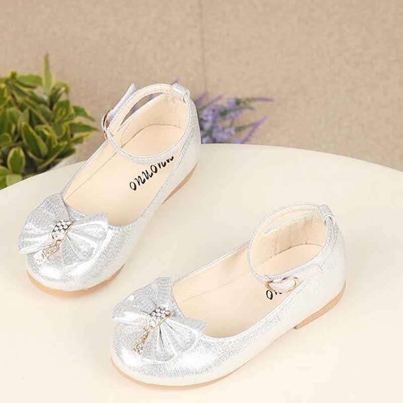 Нарядные серебряные блестящие туфли балетки для малышки срібні...
