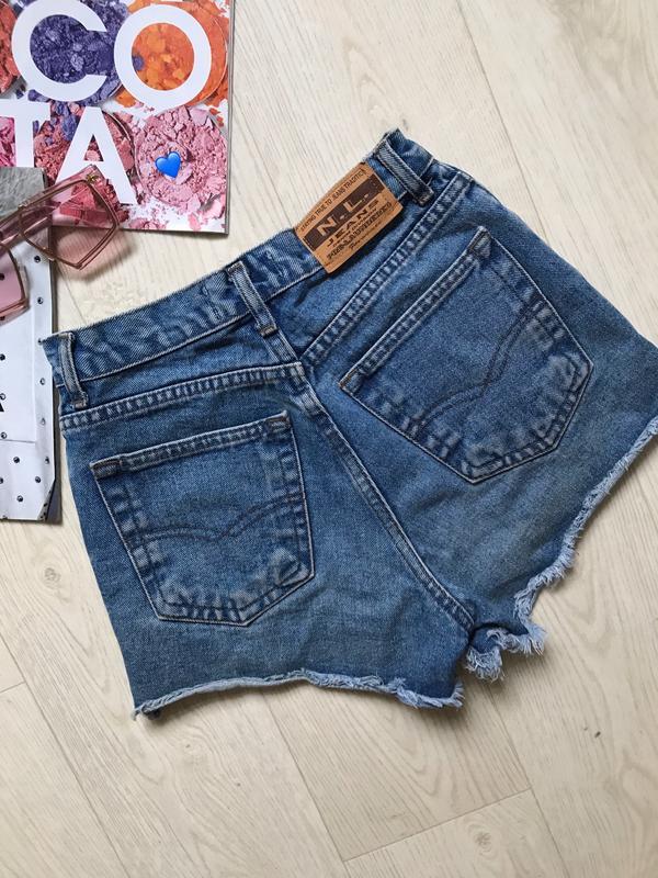 Джинсовые шорты с высокой талией - Фото 5