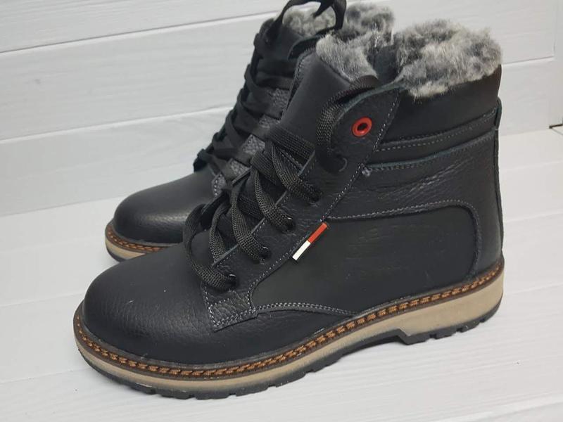 Легкие кожаные зимние прошитые сапоги ботинки чоботи внутри ше...
