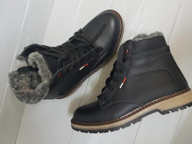 Легкие кожаные зимние прошитые сапоги ботинки чоботи внутри ше... - Фото 2