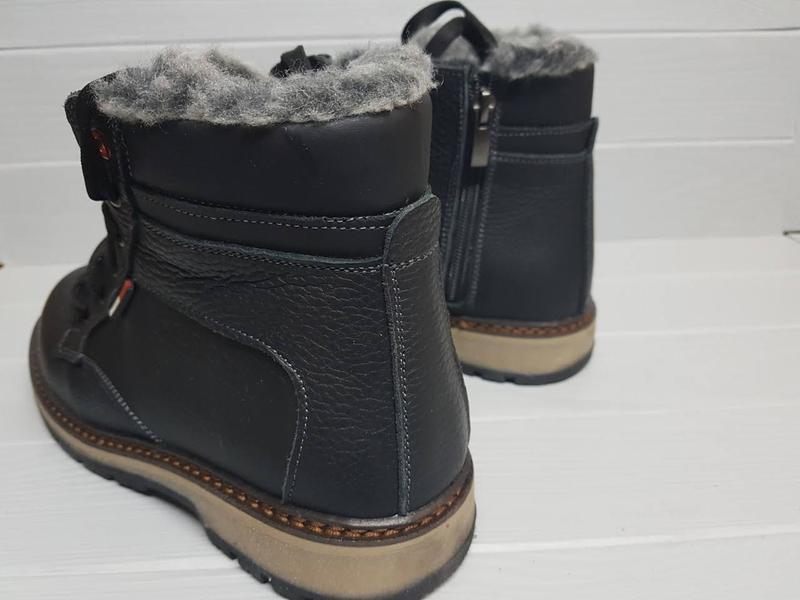 Легкие кожаные зимние прошитые сапоги ботинки чоботи внутри ше... - Фото 3