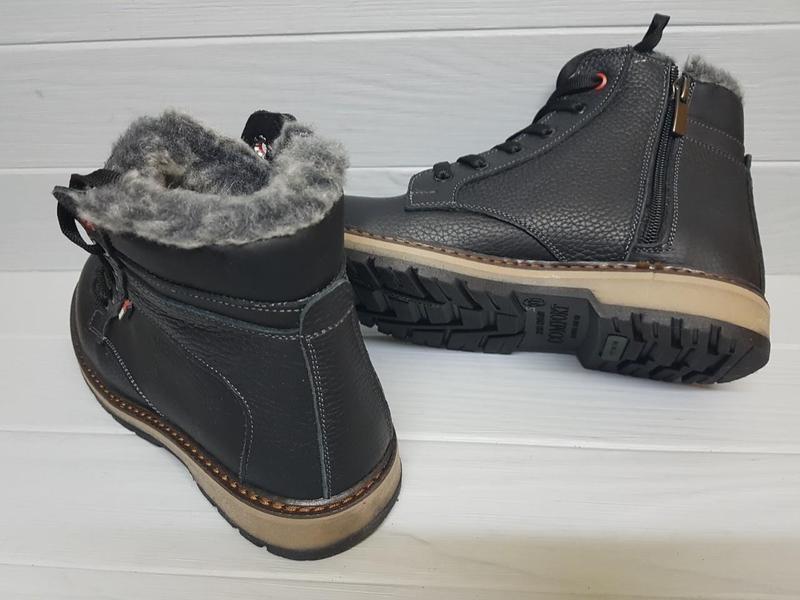 Легкие кожаные зимние прошитые сапоги ботинки чоботи внутри ше... - Фото 4