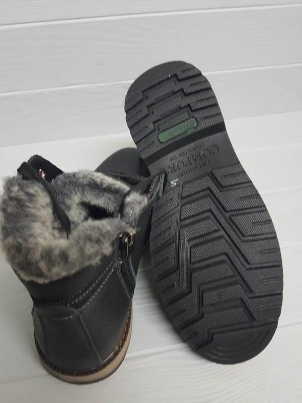 Легкие кожаные зимние прошитые сапоги ботинки чоботи внутри ше... - Фото 5