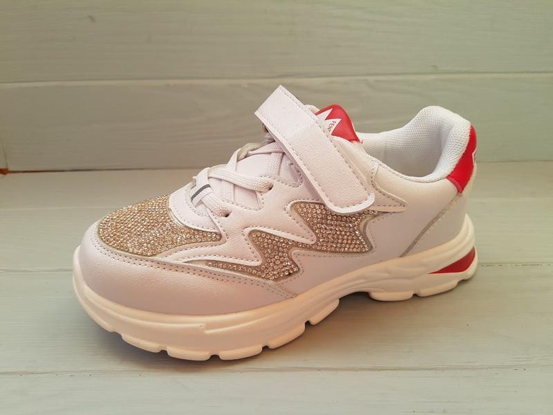 Модные нарядные кроссовки кроссы со стразами для девочки р.31-...