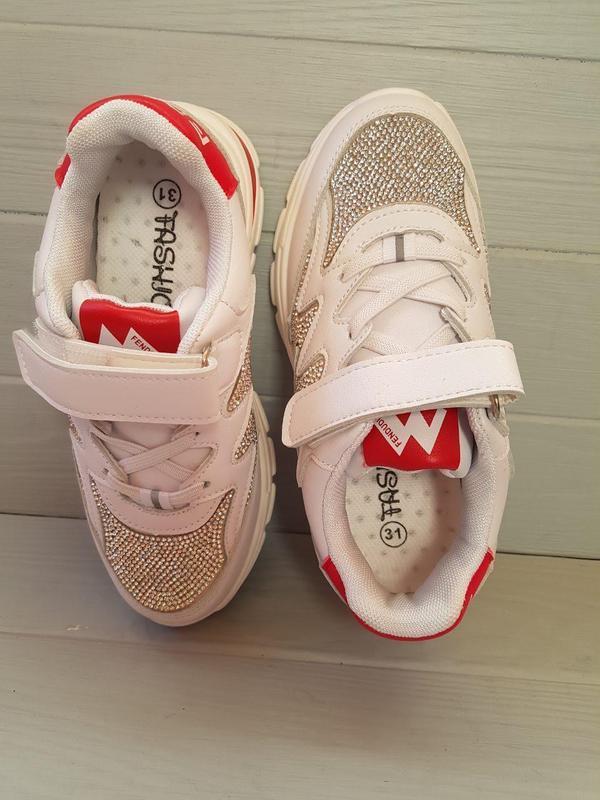 Модные нарядные кроссовки кроссы со стразами для девочки р.31-... - Фото 2