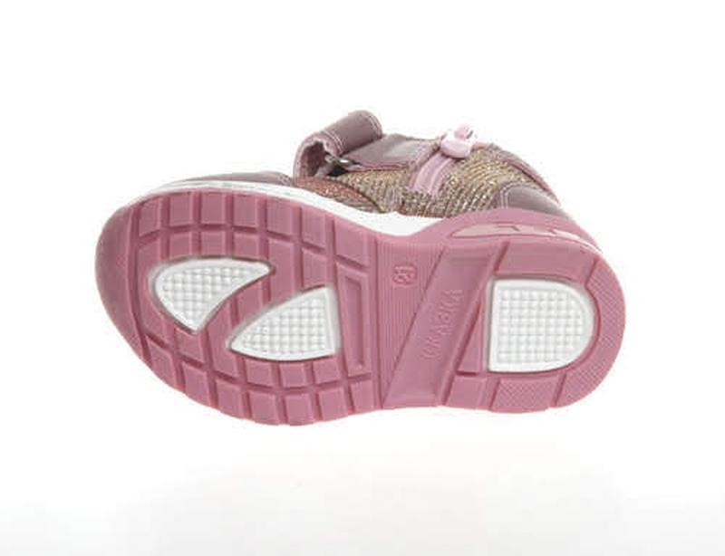 Розово-золотистые деми ботинки хайтопы на баечке для малышки р... - Фото 2