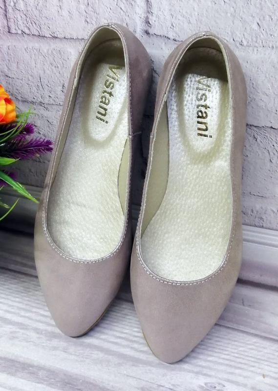 Кожаные легкие удобные перламутровые балетки туфли - Фото 3