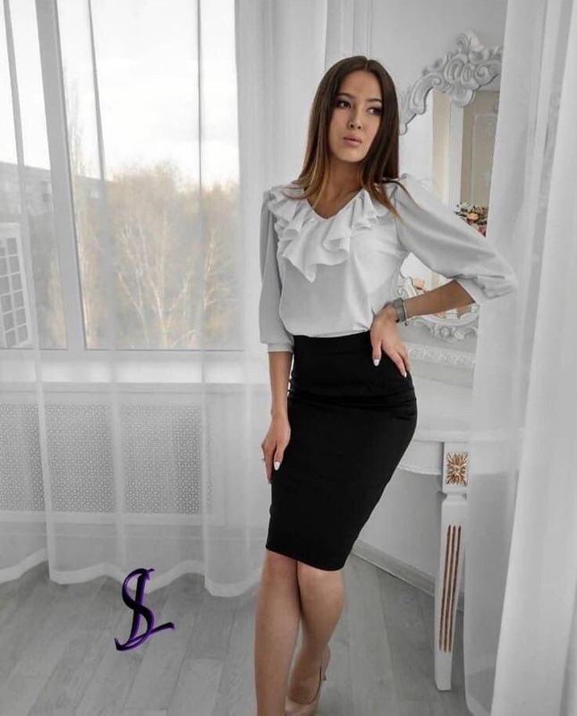 Женский костюм (блузка+юбка) 2 цвета. - Фото 2