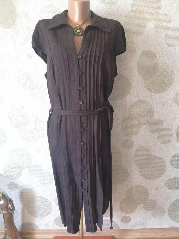 Льняное платье рубашка миди  большого размера